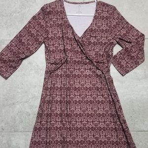 prAna breathe 3/4 sleeve adjustable v-neck dress
